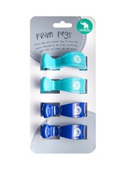 4 Pk Pram Pegs Blue Navy