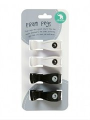 4 Pk Pram Pegs White/Black