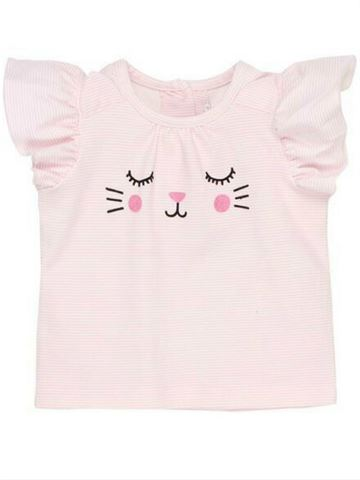 Birdie Kitten S Face Stripe Tee