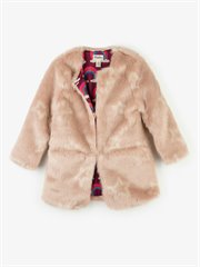 Pink Stars Faux Fur Jacket