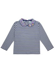 Stripe Top With Ditsy Collar