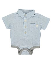 Blue Dot Cotton Woven Bodysuit