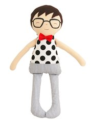 Ted Toy Rattle-Black Polka