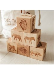 African Animals Wooden Blocks + Bag