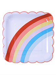 Rainbow Party Plates Lge X 12