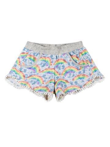 French Terry Shorts - Rainbow Cloud