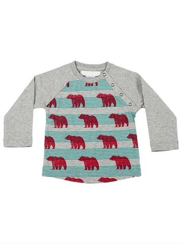 Button Shoulder Raglan Tee - Bears