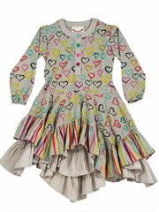 Ruffle Dress - Coloured Hearts