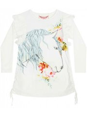Frilled Drawstring Dress Rose Horse