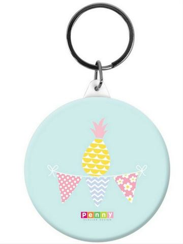 Button Bag Tag-Pineapple Bunting