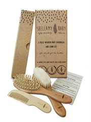 3 Pce Wooden Baby Hair Brush Set