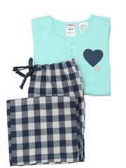 Aqua Heart Flannel Bottom Pj