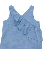 Belize Ruffle Neps Chambray Top