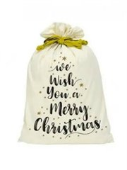 Canvas Santa Sack-We Wish You